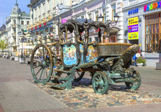 Monument to carriage of Catherine II  on Bauman Street. Kazan, T. KAZAN, RUSSIA - August 25, 2016: Monument to carriage of Catherine II  on Bauman St. Made of Royalty Free Stock Images