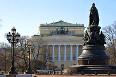 The monument to Catherine II and Alexandrinsky theatre Royalty Free Stock Images