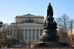 The monument to Catherine II and Alexandrinsky theatre Stock Photos