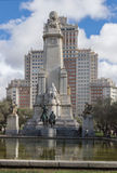Monument to Cervantes in Madrid Stock Photos