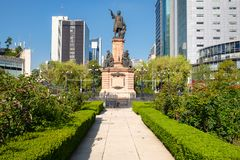 Monument to Christopher Columbus at Paseo de La Reforma in Mexico City. Inaugurated in 1877 royalty free stock photos