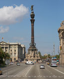 Monument to Columbus in Barcelona embarkment Royalty Free Stock Photos