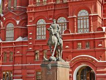 Monument to the commander marshal Georgy Zhukov. The historical museum on the Red square in Moscow and the monument to the commander marshal Georgy Zhukov Stock Images