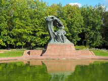Monument to the composer. Monument to the Polish composer Frederic Chopin in the Łazienki park in Warsaw stock images