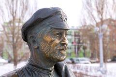 Monument to Comrade Sukhov, the main character of the movie. Samara, Russia - February 03, 2018: Monument to Comrade Sukhov, the main character of the movie `The Royalty Free Stock Photos