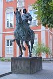 Monument to the condottieri Bartolomeo Colleoni before the building of Academy of fine arts. Warsaw, Poland Stock Image