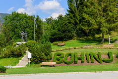Monument to the conquerors of Triglav. Ribcev Laz village, lake Bohinj, Slovenia Royalty Free Stock Photos