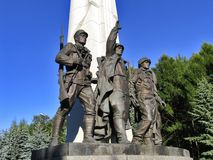 Monument to countries of anti-Hitler coalition - statue of soldiers of armies of USSR, USA, France, UK. Alley Partisans, July 26, 2014, Victory Park on Stock Photos