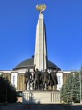 Monument to countries of anti-Hitler coalition - statue of soldiers of armies of USSR, USA, France, UK. Alley Partisans, July 26, 2014, Victory Park on Royalty Free Stock Image