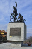 Monument to the cyclist. Magreglio, Como Italy Royalty Free Stock Image