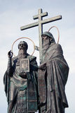 A monument to Cyril and Methodius. A monument to Cyril and Mefody (Methodius). Beautiful Kremlin in Kolomna, Moscow region, Russia. Taken on September 22, 2012 Stock Image