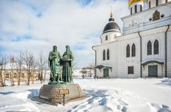 Monument to Cyril and Methodius. Near the Assumption Cathedral in the Kremlin in Dmitrov on a winter frosty sunny day Stock Images