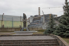 Monument. To the dead liquidators of the accident at the Chernobyl Nuclear Power Plant Stock Photos