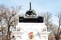 Monument to the dead soldiers in the Second World War. Tank T-34. Kamenetz-Podolsk. UKRAINE. March 29. 2018: Monument to the dead soldiers in the Second World Stock Photos