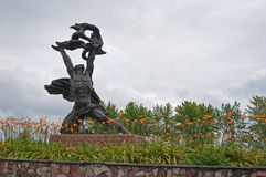 Monument to the dead workers and firemen. At the Chernobyl nuclear power station Stock Images