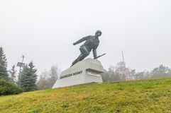 Monument to defencer of the Mlawa who fight at September 1–3, 1939. Monument at cloudly day. Mlawa, Poland - November 25, 2017: Monument to defencer of the Royalty Free Stock Photography