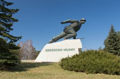 Monument to defencer of the Mlawa who fight at September 1–3, 1939. Mlawa, Poland - April 10, 2018: Monument to defencer of the Mlawa who fight at royalty free stock photos