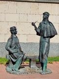 Monument to Detective Sherlock Holmes and Dr. Watson in Moscow. Was installed on April 27, 2007 on the Smolenskaya embankment. Near the embassy of Great Britain royalty free stock photography