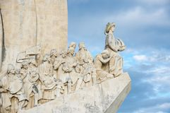Monument to the Discoveries. Is a monument on the bank of the Tagus River estuary, in Lisbon, Portugal. The monument celebrates the Portuguese Age of Discovery Stock Images