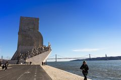 Monument to the Discoveries in Belem area of Lisbon, Portugal. Stock Photo