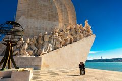 Monument to the Discoveries in Belem area of Lisbon, Portugal. Royalty Free Stock Images