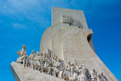 Monument to the Discoveries at Belem Lisbon Portugal. Detail of figures royalty free stock photo