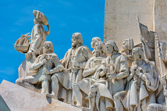 Monument to the Discoveries at Belem Lisbon Portugal. Detail of figures stock images