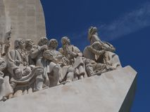 Monument to the discoveries in Lisbon in Portugal. Monument to the discoveries named Padrao dos Descobrimentos in Lisbon near Belem royalty free stock photo