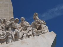 Monument to the discoveries in Lisbon in Portugal. Monument to the discoveries named Padrao dos Descobrimentos in Lisbon near Belem royalty free stock image