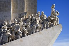 The monument to the discoveries Lisbon Portugal monument architecture sculpture. A monument to the great people of Portuguese discoverers on the Tagus river in Stock Photos