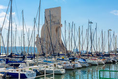 Monument to the Discoveries, Lisbon, Portugal. With boats in the foreground royalty free stock photography