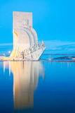 Monument to the discoveries Lisbon. Portugal at dusk stock photo