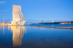 Monument to the discoveries Lisbon. Portugal at dusk royalty free stock photography