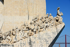 Monument to the Discoveries, Lisbon, Portugal. Statues on the Monument to the Discoveries (Portuguese: Padrão dos Descobrimentos) at Belem district, Lisbon Royalty Free Stock Photos