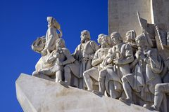 The monument to the discoveries Lisbon Portugal, Tagus river, architecture, sculpture Caravel concrete limestone. Huge tall monument in Lisbon of the discoveries Royalty Free Stock Photos