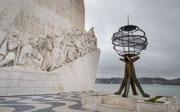 Monument to the Discoveries looking triumphantly out over the Atlantic Ocean in Betlem, Lisbon , Portugal. Magnficent Monument to the Discoveries looking stock images