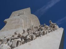 Monument to the discoveries in Lisbon in Portugal. Monument to the discoveries named Padrao dos Descobrimentos in Lisbon near Belem stock photo