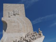 Monument to the discoveries in Lisbon in Portugal. Monument to the discoveries named Padrao dos Descobrimentos in Lisbon near Belem stock images