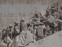 Monument to the discoveries in Lisbon in Portugal. Monument to the discoveries named Padrao dos Descobrimentos in Lisbon near Belem royalty free stock photos