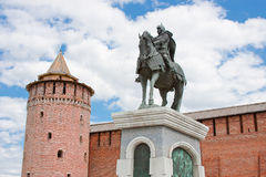Monument to Dmitry Don at the Kremlin wall, city Kolomna Royalty Free Stock Photography