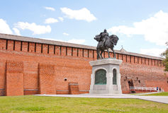 Monument to Dmitry Don at the Kremlin wall, city Kolomna Stock Photography