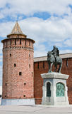 Monument to Dmitry Don at the Kremlin wall, city Kolomna Royalty Free Stock Images