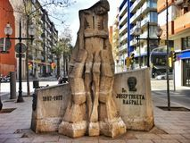 The monument to Doctor Trueta on the Rambla de Poblenou in Barcelona. The monument to Doctor Trueta on the Rambla de Poblenou was inaugurated in 1978, one year royalty free stock images
