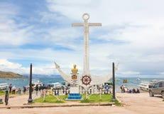 Monument to Don Eduardo Avaroa in Copacabana, Bolivia. COPACABANA - JANUARY 17: Monument to Don Eduardo Avaroa in Copacabana, Bolivia on January 17, 2013. The Stock Photography
