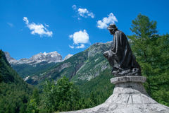 Monument to Dr. Julius Kugy in the Trenta Valley in Slovenia Royalty Free Stock Photography