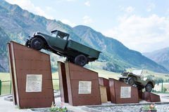 Monument to drivers at the Chuysky Tract, very dangerous high Alpine road in Altai Royalty Free Stock Photography