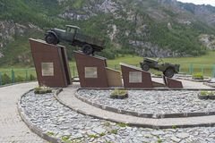 Monument to the drivers on the Chuysky Trakt. Altai Mountains, R stock photo