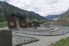 Monument to the drivers on the Chuysky Trakt. Altai Mountains, R stock image
