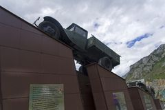 Monument to the drivers on the Chuysky Trakt. Altai Mountains, R royalty free stock photography