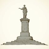 Monument to Duke de Richelieu. Odessa, Ukraine. Vector sketch Royalty Free Stock Images